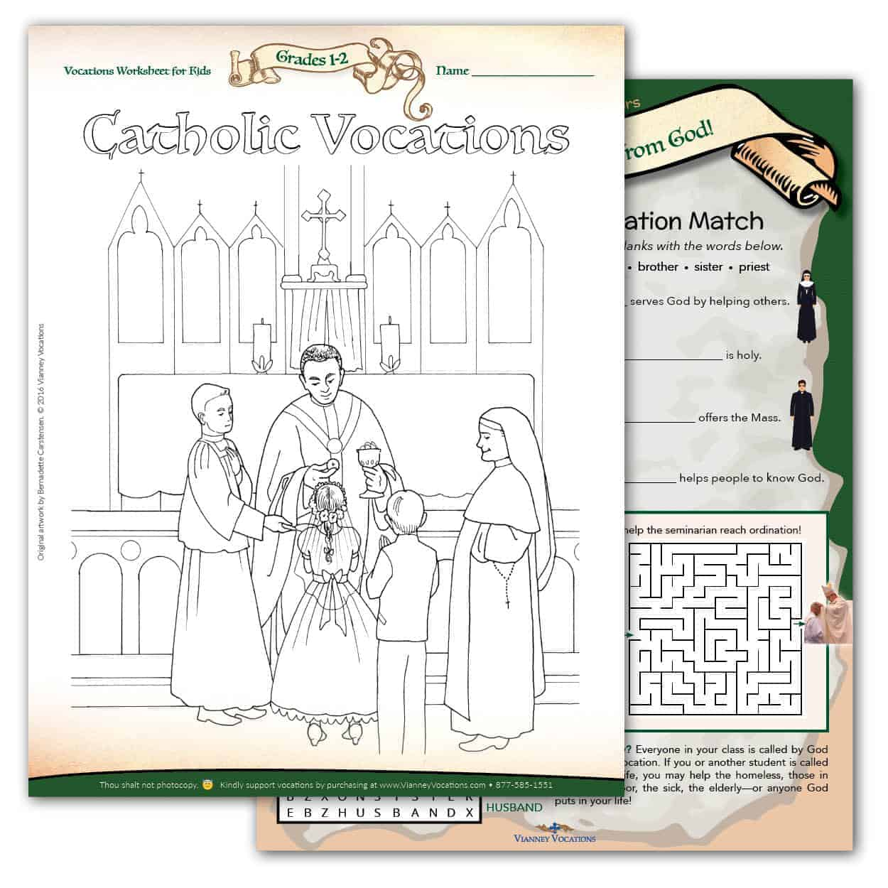 graphic about Catholic Printable Activities referred to as Vocations Worksheet for Little ones - Grades 1-2