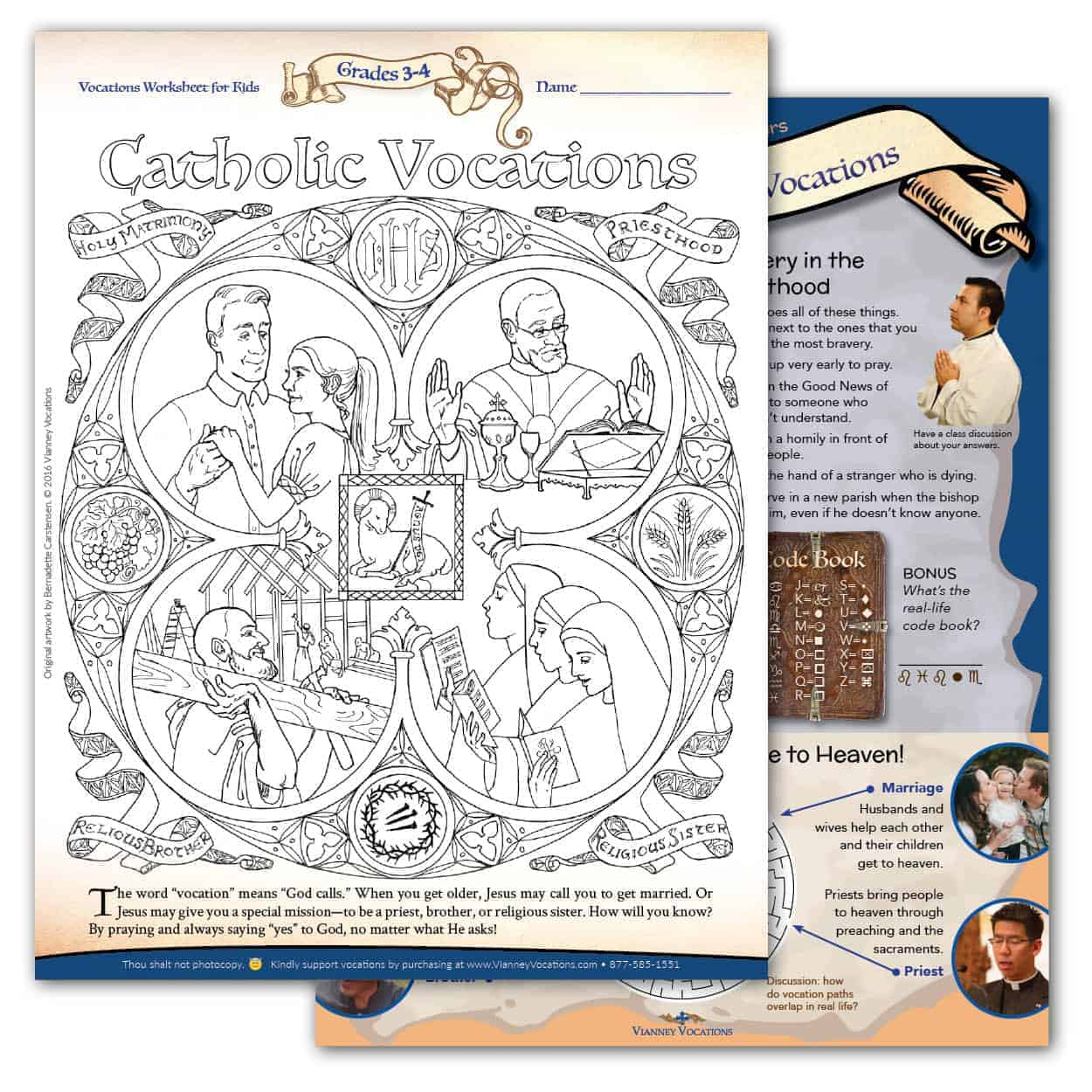 Vocations Worksheet for Kids - Grades 3-4 - Vianney Vocations