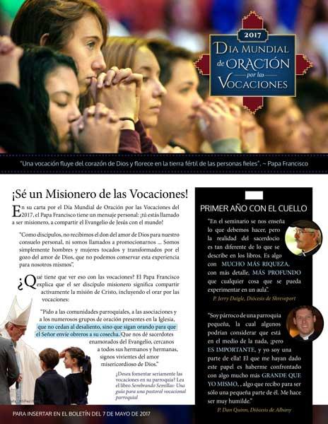 2017 Wdpv Bulletin Insert Spanish Web Front Vianney Vocations