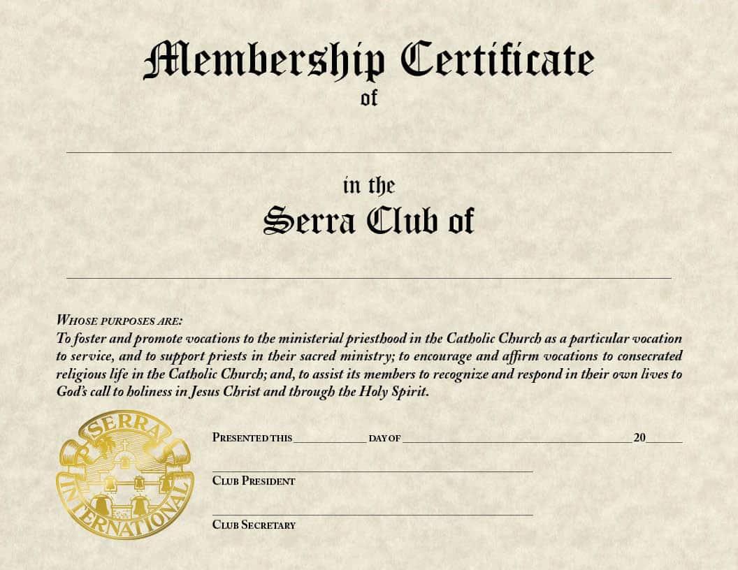 Serra Club Membership Certificate Vianney Vocations