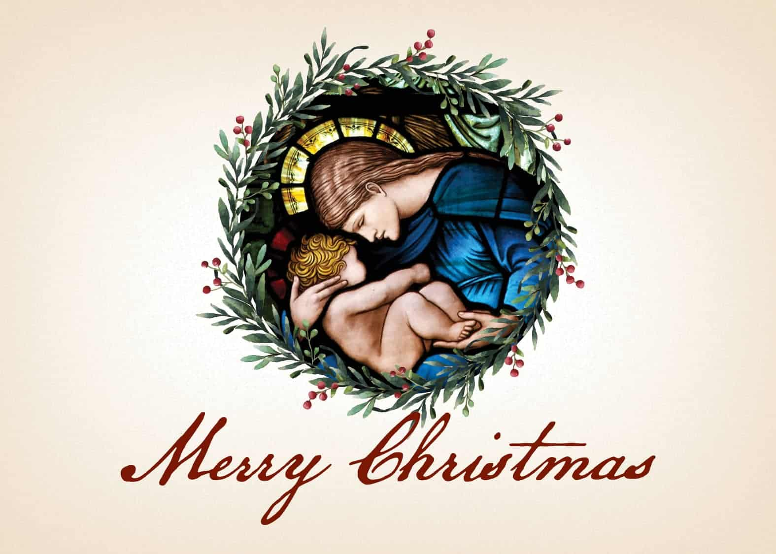 Merry Christmas Card.Madonna And Child Christmas Card From Serra Set Of 10
